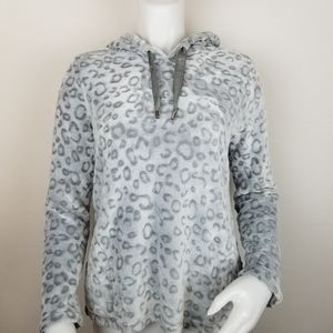 Grace S Faux Fur Animal Print Hooded Pullover